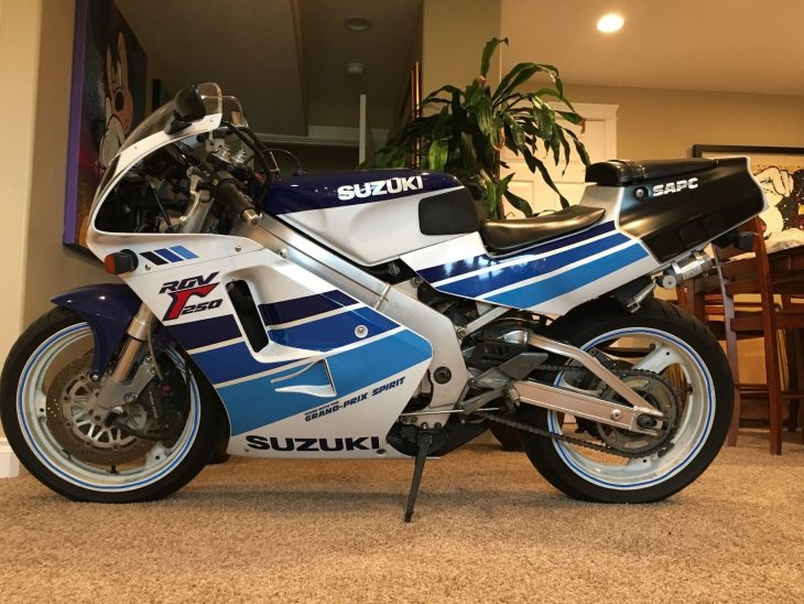Dry clutch, adjustable suspension, no reserve: 1990 Suzuki RGV250SP