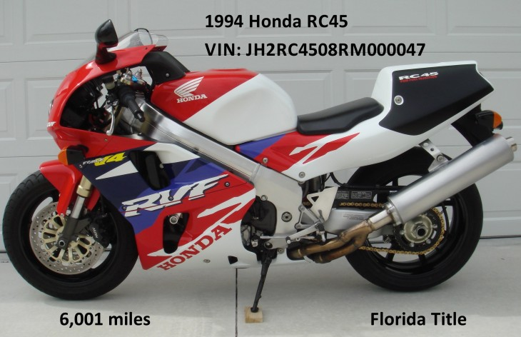 Featured Listing: Titled 1994 Honda RC45 For Sale