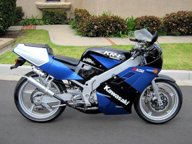 Rare Colors: Cali-Titled 1989 Kawasaki KR-1S in Zeus Blue for Sale